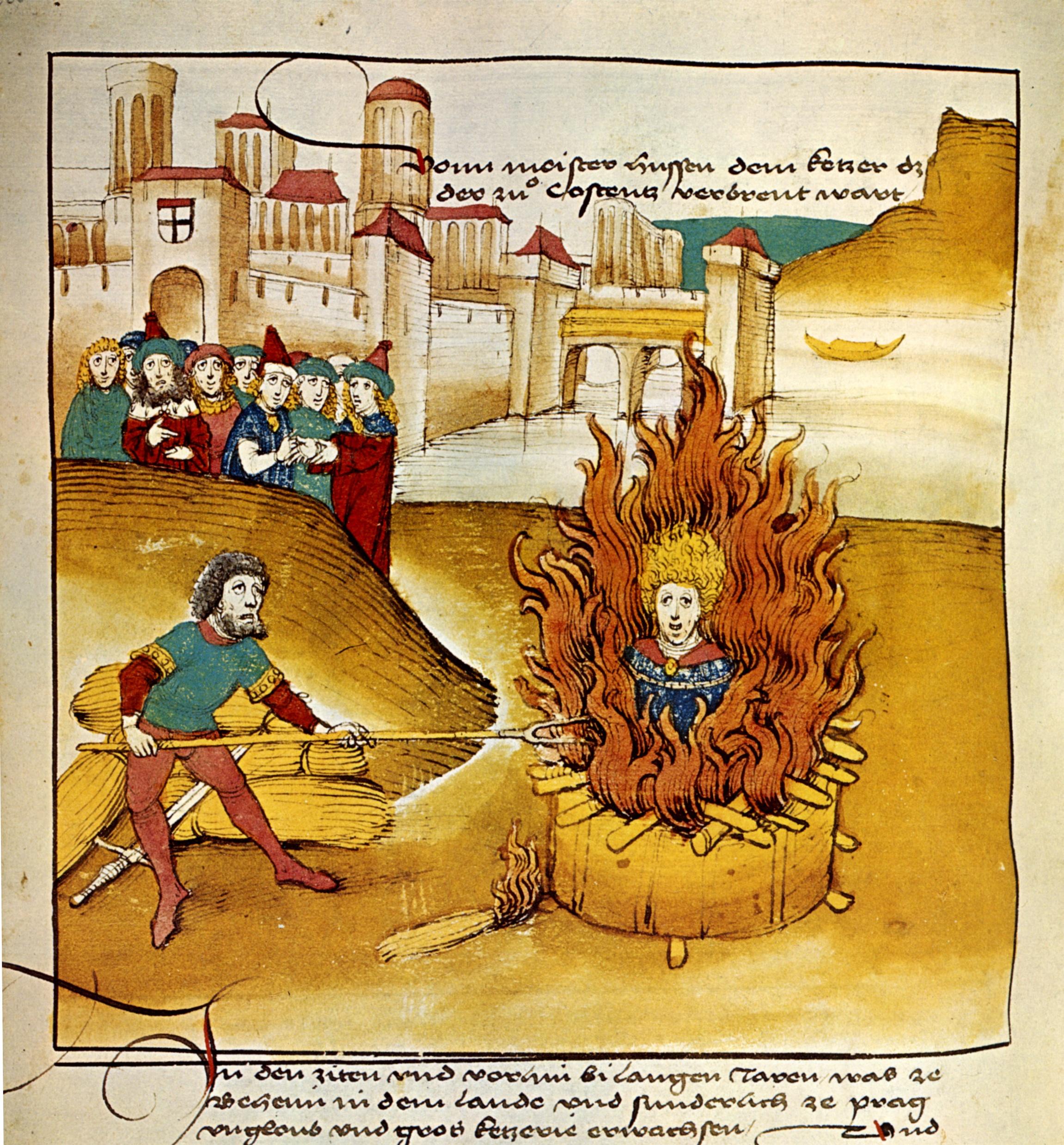 Jan Hus wird als Ketzer verbrannt.  (C) Gemeinfrei, https://commons.wikimedia.org/w/index.php?curid=669283