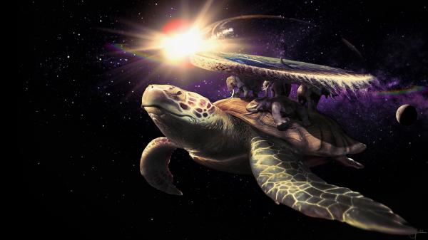"""Die Welt ruht auf den Rücken von vier Elefanten (Berilia, Tubul, Groß-T'Phon und Jerakeen), die wiederum auf dem Rücken der Sternen-Schildkröte Groß-A'Tuin stehen. Die durch den Weltraum """"schwimmende"""" Schildkröte ist ein von der indischen Mythologie inspiriertes Weltbild."""